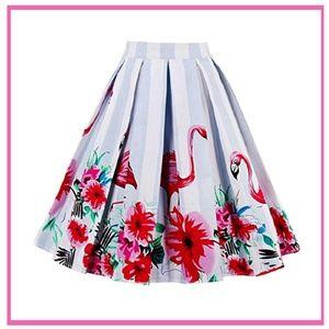 Flamingo Print Flare Skirt